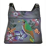Anna by Anuschka Women's Genuine Leather Hobo Bag | Hobo Handbag, Shoulder Bag | Great Organizer, Compact Size | Hand Painted Original Artwork (Bird on Branch/Grey)