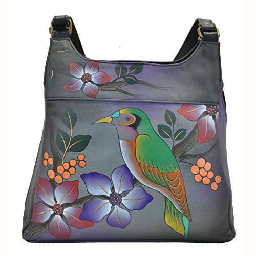 Anna By Anuschka Handpainted Leather Medium Hobo, Bird on Branch/Grey