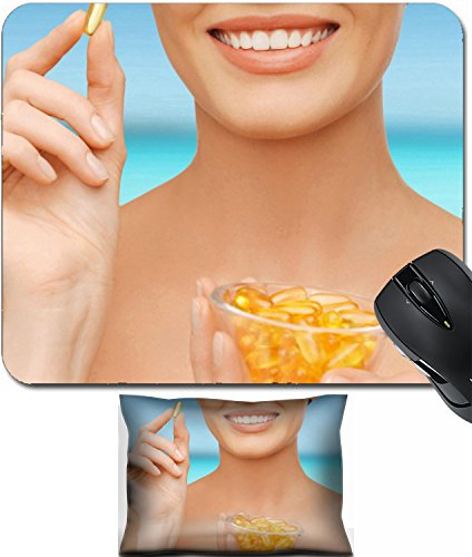 Msd Mouse Wrist Rest And Small Mousepad Set  2Pc Wrist Support Design 25458777 Healthcare And Beauty Concept Beautiful Woman With Omega 3 Vitamins