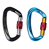 25KN Climbing Carabiner Locking Heavy Duty Large [2 Pack] - BS Hot-forged Al Mg Alloy D-shaped Locking Carabiner Screw for Hammock Climbing Rocking - Blue & Black