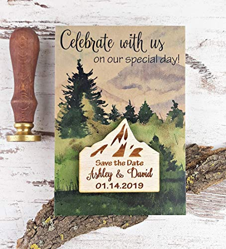 Mountain Save The Date Wodden Magnet, Wedding Save The Date Magnet, Forest Save The Date Card, Destination Wedding Save The Date Set of 20 -