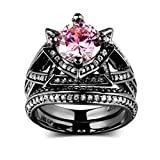 Beydodo Black Gold Rings for Women Round Cut Pink CZ Stackable Rings Wedding Bands Rings Set Size 8