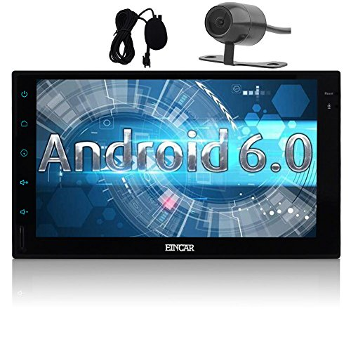 7 inch Android 6.0 Marshmallow Car Stereo with Backup Cam, External Mircophone - 2 Din in Dash GPS Navigation Bluetooth Radio - Support Phone Mirror, USB, SD, Dual CAM-IN, OBD2, 3G, 4G, WIFI by EinCar