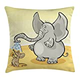 Ambesonne Animal Throw Pillow Cushion Cover, Elephant Bathing Mouse with Trunk in Desert Cartoon Animal Print Kids Decor, Decorative Square Accent Pillow Case, 16 X 16 inches, Grey Yellow Cream