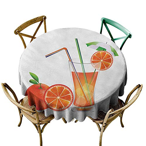 Wendell Joshua Yellow Tablecloth 60 inch Green and Orange,Glass of Orange Juice with Fruits with Colorful Straws Summertime Theme,Multicolor Suitable for Indoor Outdoor Round Tables