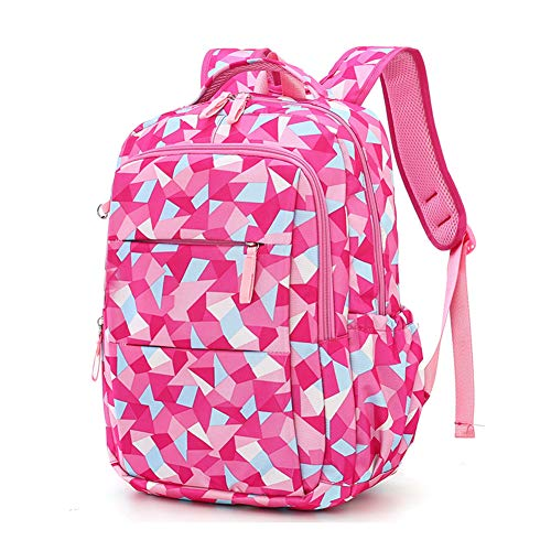 Print Satchel - Fanci Geometric Prints Primary School Student Satchel Backpack For Girls Waterproof Preppy Schoolbag