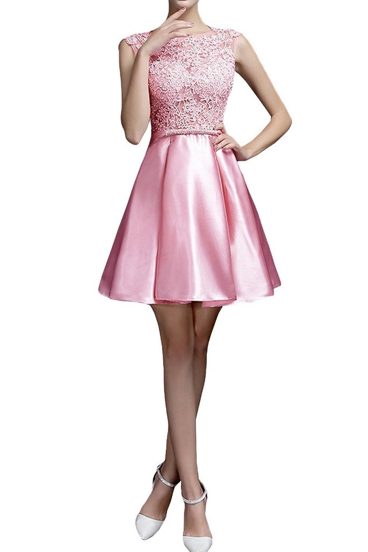 Charm Bridal 2016 New Prom Dresses Pink Short A-line Satin Lace Cocktail Dresses