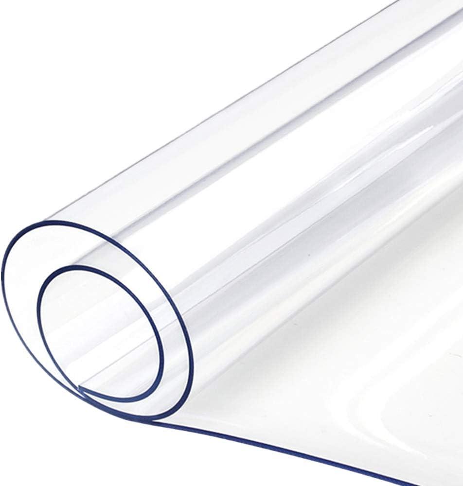 Yizunnu - Mantel de PVC transparente, 1,5 mm, impermeable, suave cristal transparente, transparente, 60 x 60 cm