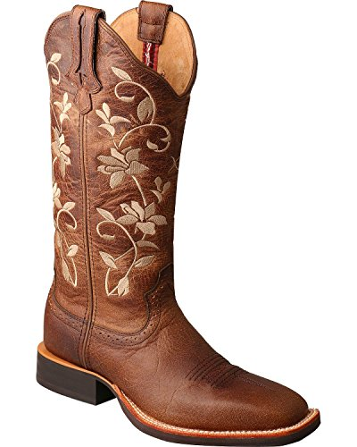 X Wrs0025 Toe Stock Women's Floral Square Cowgirl Twisted Brown Boot Ruff dzcRydq