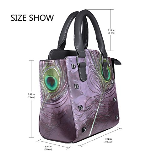 Leather Bag Handbags PU Crossbody Shoulder Tote Single Messenger Feather Top Women Purple For Peacock Bags Handle Graceful LIANCHENYI 5g4Oqg