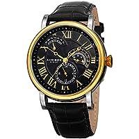 Akribos XXIV AK1003 Men's Quartz Multifunction Guilloche Pattern Rose-Tone/Blue & Brown Leather Strap Watch - (Black)