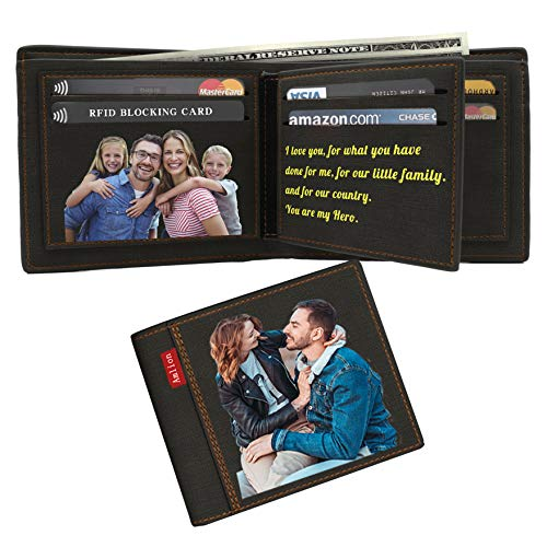 (Custom Wallets Personalized Photo Wallet Gifts RFID Blocking for Men Fathers Day)