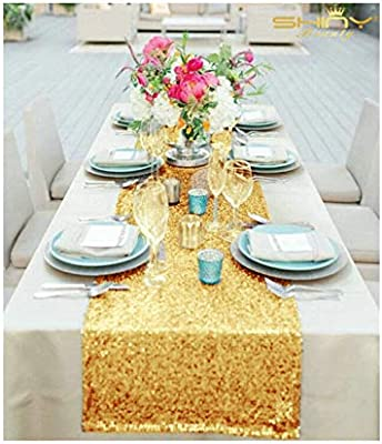 ShinyBeauty 14x120-Inch Rectangle-Gold-Sequin Table Runner- for Wedding  Party Decor (14x120-Inch) 7e1d7914212c