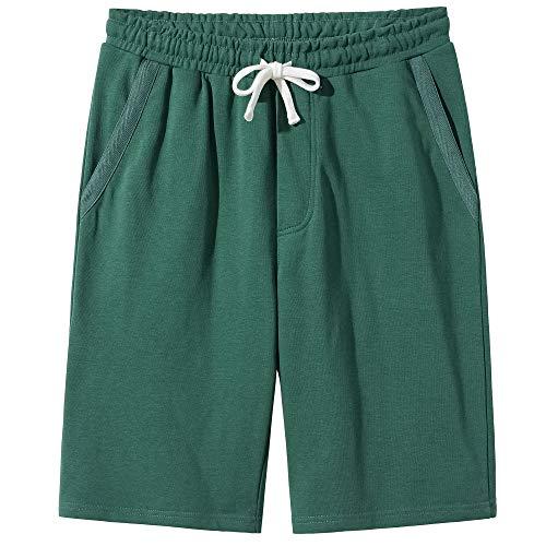 - VANCOOG Men's Casual Classic Fit Fleece Elastic Drawstring Jersey Knit Shorts-Green-S