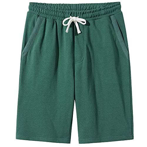 VANCOOG Men's Casual Classic Fit Cotton Elastic Drawstring Jersey Knit - Cotton Fleece Short Drawstring