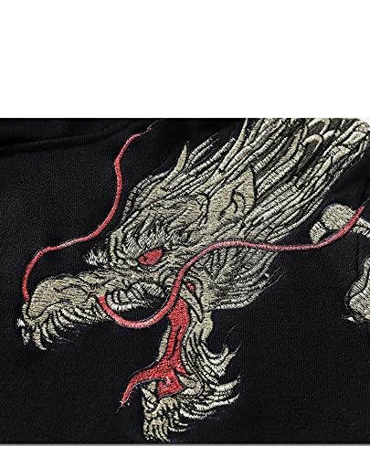 Uomo Leggenda Stile Totem Moda Cappuccio Ricamo Marziali Drago Arti Cauale Con Unisex Flychen Delle Felpa Spirituale Nero Cinese 0wkP8nOX