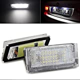TUINCYN 3528 SMD 18 LED Bulbs License Plate Light Lamps 6500K DC 12V Super White Driving Lamp Universally Used for BMW E46 4D 98-03 (Pack of 2)