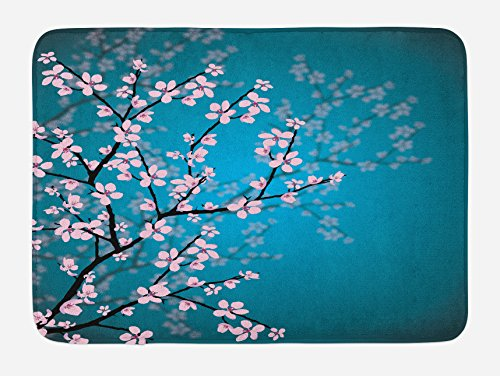 Ambesonne Teal Bath Mat, Pink Blossoms Art Leaves and Plants Ombre Spring Japanese Sakura Flowers in Garden Park, Plush Bathroom Decor Mat with Non Slip Backing, 29.5 W X 17.5 L Inches, Teal Pink