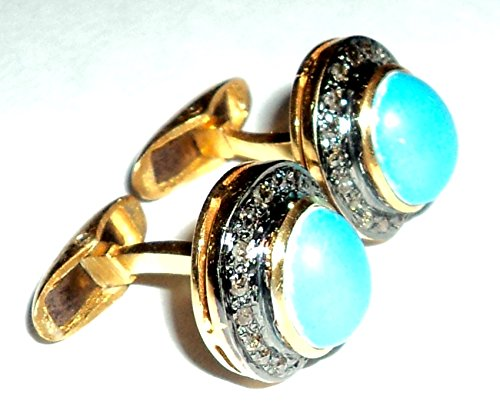 Pave Natural Rose Cut Diamond Turquoise Men's Cufflinks 925 Sterling Silver Antique Inspire & Gold Finish Jewelry