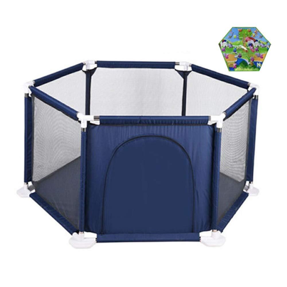 【感謝価格】 クロールマット付き幼児フェンス B07QLZC5LH、男の子と女の子のための屋内屋外安全ゲームベビーサークル - ブルー - ブルー B07QLZC5LH, セブンヘブンストア:94ada96b --- a0267596.xsph.ru