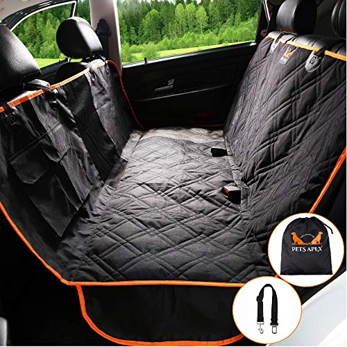 Pets Apex Dog Car Seat Covers w/Mesh Window, Heavy Duty Scratchproof Nonslip Waterproof Machine Washable Back Seat Cover for Dogs, Pet Hammock Backseat Protector for Medium/Small Cars SUVs Trucks