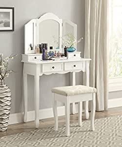 related image of Roundhill Furniture Sanlo White Wooden Vanity, Make