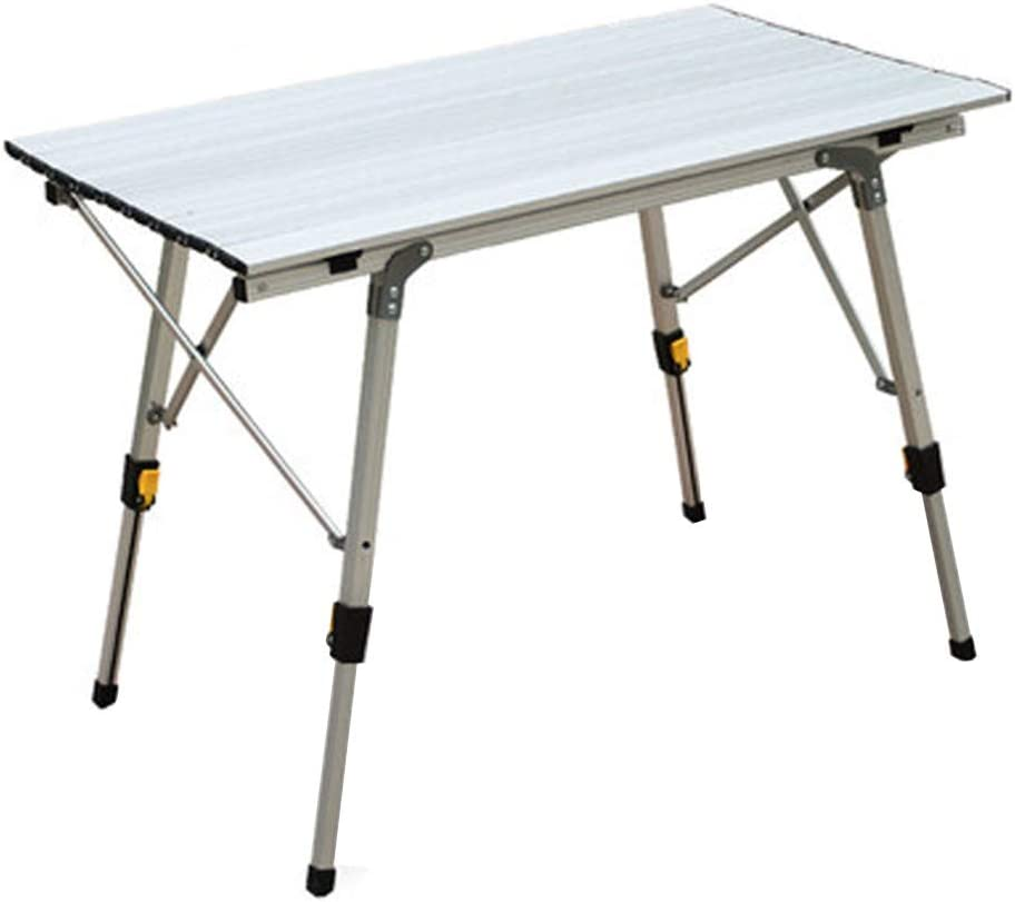 JMETRIE Lightweight Aluminum Folding Square Table Roll Up Top 4 People Table with Carry Bag for Camping, Picnic, BBQ