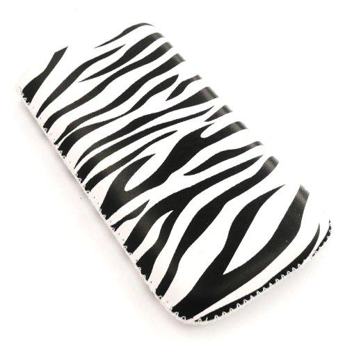 Emartbuy Value Pack für Apple iPhone 3G / 3GS Zebra Schwarz / Weiß Premium-PU-Leder-Tasche / Case / Sleeve / Halter (groß) mit Pull Tab Mechanismus + Kompatibel Kfz-Ladegerät + LCD displayschutz