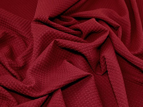 Textured Squares Surface Stretch Jersey Knit Dress Fabric Wine - per (Textured Stretch Knit)