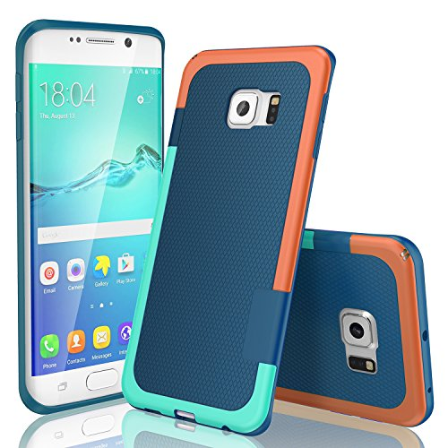 Galaxy S6 Edge Case, TILL(TM) Ultra Slim 3 Color Hybrid Impact Anti-slip Shockproof Soft TPU Hard PC Bumper Extra Front Raised Lip Case Cover for Samsung Galaxy S6 Edge S VI Edge G925 [Blue]