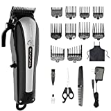 Beautural Professional Cordless Pet Grooming Clipper Kit, Low Noise Rechargeable Dog and Cat Hair Trimmer with Combs, Scissors, Styling Apron, Storage Case