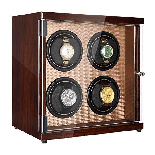 CHIYODA Watch Winder, Four Watch Winder for Men's and Women's Automatic Watch with Quad Mabuchi Motor, LCD Touch Screen and High Gloss Brown