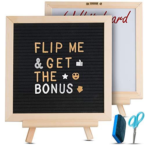 (Letter Board & Dry Erase White Board - 340 Letters & Symbols - Double Sided Felt Message Board, Includes Storage Bag, Scissors, Oak Stand, Eraser, 10x10