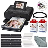 Canon SELPHY CP1200 Wireless Color Compact Photo Printer Bundle W/2Pk. Canon KP-108IN Color Ink and Paper Set & Cable + FiberTique Cleaning Cloth