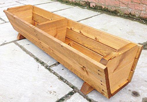 Ruddings Wood 120cm Large Wooden Trough Planter Mcpherson Co
