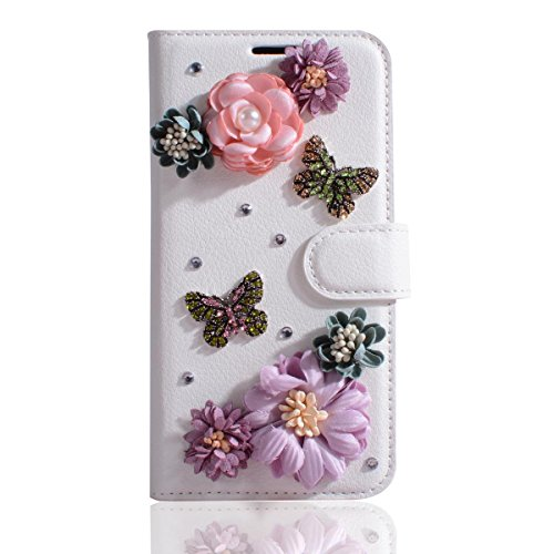 Lenovo A2010 Case,Gift_Source [Card Slots] Luxury Bling Glitter Diamond PU Leather Purse Flip Stand Cover Sparkle Crystal Rhinestone Wallet Case for Lenovo A2010 (4.5 inch) [Flowers Butterflies]