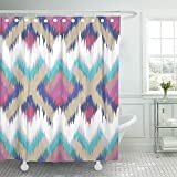 Emvency Decorative Shower Curtain Colorful Arabic Abstract Ethnic Ikat Pattern Traditional on the in Indonesia Other Asian Countries 66''x72'' Waterproof Mildew Resistant Bathroom Hook Set Curtains