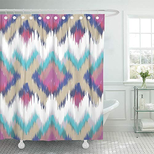 Emvency Decorative Shower Curtain Colorful Arabic Abstract Ethnic Ikat Pattern Traditional on the in Indonesia Other Asian Countries 66''x72'' Waterproof Mildew Resistant Bathroom Hook Set Curtains by Emvency