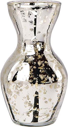 (Luna Bazaar Mini Vintage Mercury Glass Vase (4.5-Inch, Adelaide Cone Top Design, Silver) - Decorative Flower Vase - for Home Decor, Party Decorations, and Wedding Centerpieces)
