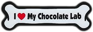 """Refrigerator Magnet - Dog Bone - I Love My Chocolate Lab (Labrador Retriever) - 7"""" x 2"""""""