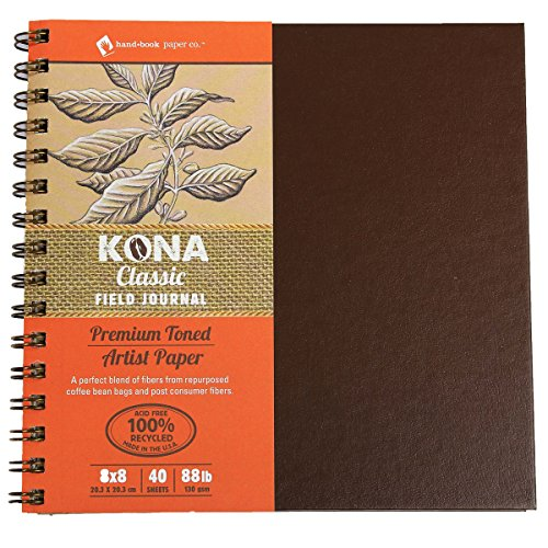 Global Art Materials Kona Classic Toned Artist Paper Field Series Journal Hand Book, 8 by 8-Inch (Journal Wirebound Art Recycled)