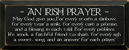 Sawdust City Wooden Sign - an Irish Prayer (Black)