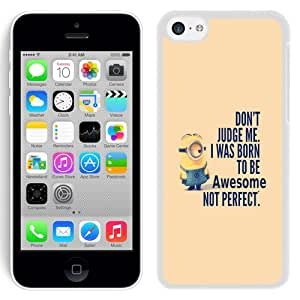Beautiful Unique Designed iPhone 5C Phone Case With Minion I Was Born To Be Awsome_White Phone Case
