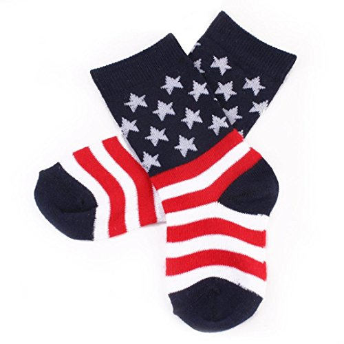 Fiaya 2018 Patriotic USA Toddler Children Kids American Flag Cotton Medium Length Socks