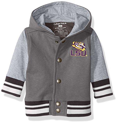 NCAA LSU Tigers Children Unisex Infant Letterman Jacket, 12 Months, Pewter/Oxford