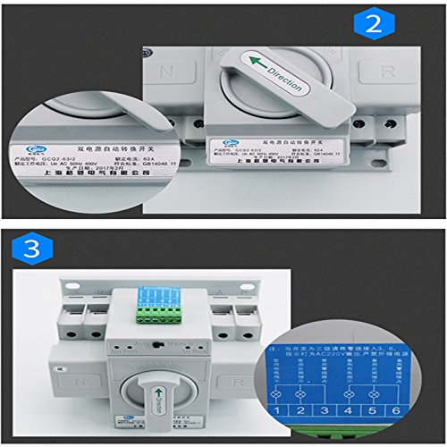 guangshun New Home Dual Power Automatic Transfer Switch 2P 63A 220V Toggle Switch Double Power Automatic Change-Over Switch by guangshun (Image #5)