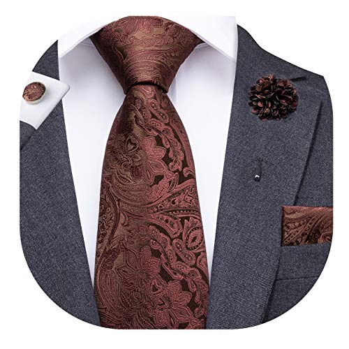 (Dubulle Brown Necktie and Lapel Pin for Men with Hankerchief Cufflinks)