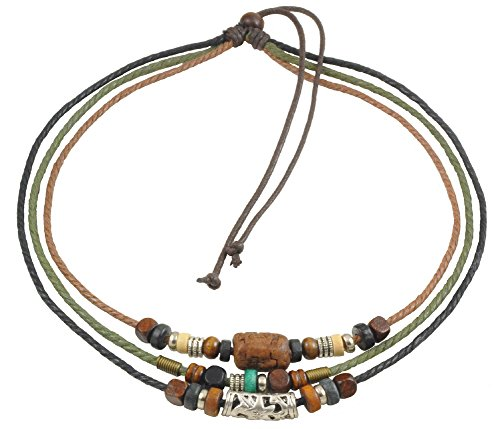 - Ancient Tribe Unisex Adjustable Hemp Cords Wood Beads Beaded Surfer Choker Necklace