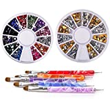 New8Beauty Nail Art Brushes + Dotting Pens AND Rhinestones Wheels Kit - Great Stocking Stuffers for Women Wife Girlfriend