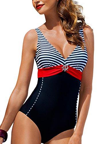 Ewlon Aqua Badeanzug Für Damen, Triangel, Regulierbare Träger, Herausnehmbare Einlagen, Top Qualität, Made In EU, Schwarz,48